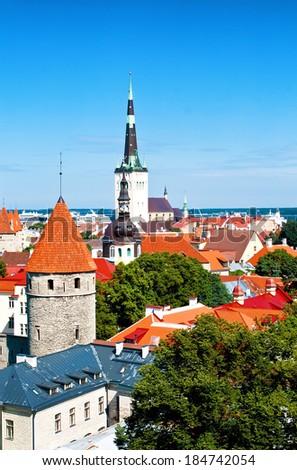 Medieval street in Talliinn Old town, Estonia - stock photo