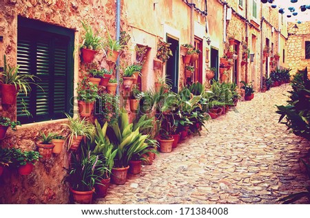Medieval street in Valdemossa village, Mallorca, Spain - stock photo
