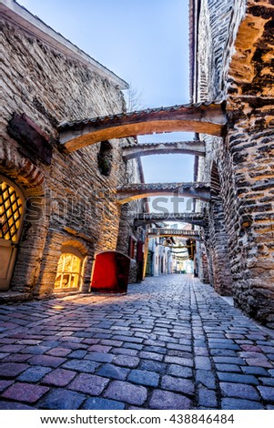 Medieval street  St. Catherine's Passage in Tallinn old town, Estonia - stock photo