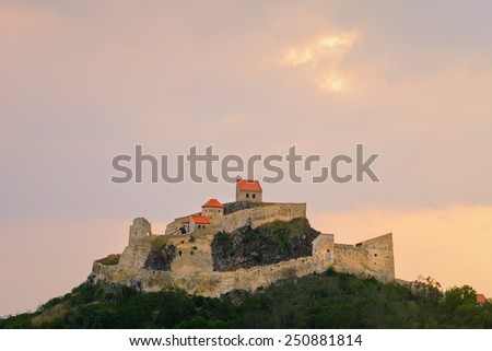 Medieval Stronghold On The Hill In Romania - stock photo