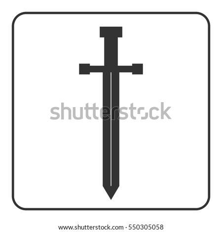 Medieval sword icon. Gray silhouette isolated on white background. Symbol of knight, warrior, weapon and victory, battle, templar. Flat style. Military historic traditional design. illustration