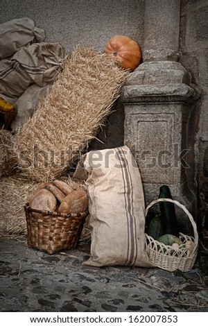 Medieval tavern with alpacas straw and hay bags