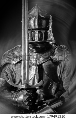 Medieval time armor of a knight - stock photo
