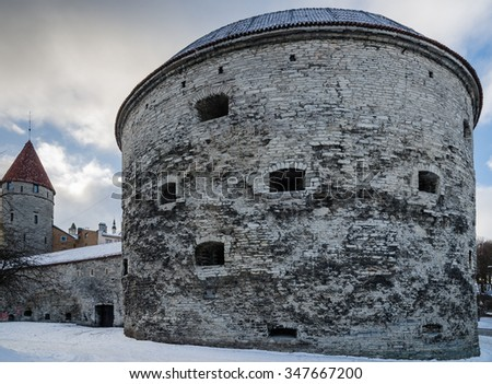 Medieval tower Thick Margarita in Tallinn, a close up