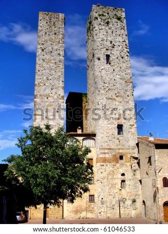 Medieval towers of San Gimignano, Tuscany - stock photo