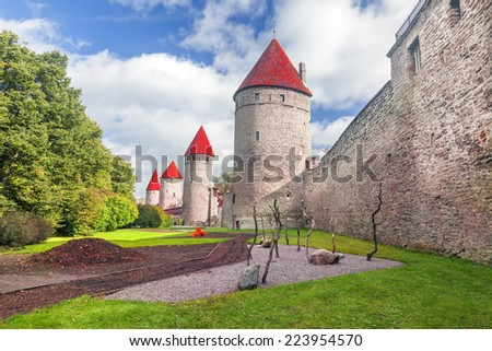 Medieval towers - part of the city wall. Tallinn, Estonia - stock photo