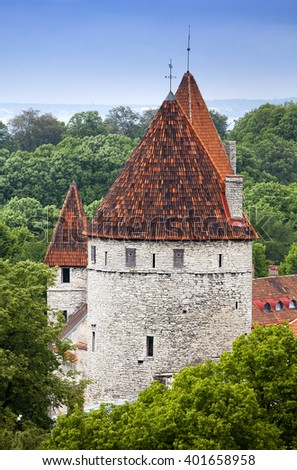 Medieval towers - part of the city wall. Tallinn, Estonia - stock photo