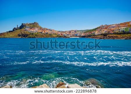 Medieval town Castelsardo on beautiful summer day, Sardinia - stock photo