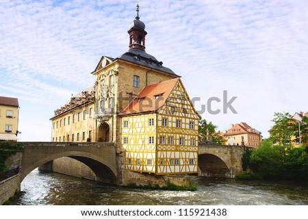 Medieval town hall on the bridge Bamberg Bavaria Germany - stock photo