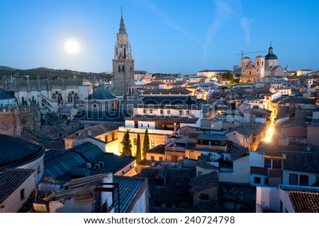 Medieval town of Toledo, Spain at sunrise. - stock photo