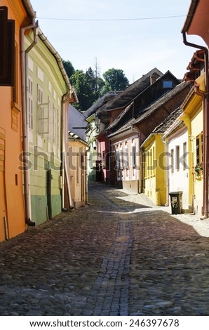 Medieval Town Sighisoara in Romania,Transylvania - September 2014: one of the few still inhabited citadels in Europe, UNESCO World Heritage Site - stock photo