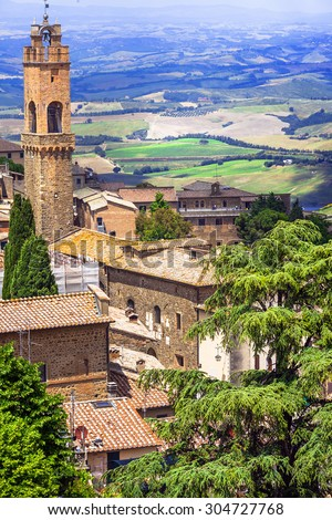 medieval towns of Tuscany-Montalcino with famous vineyards - stock photo