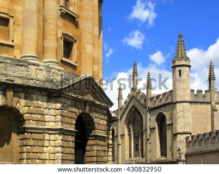 Medieval university buildings in the city of Oxford, England, UK - stock photo