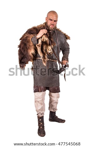 medieval viking in chain mail and a bearskin rug isolated on white - Bearskin Rug