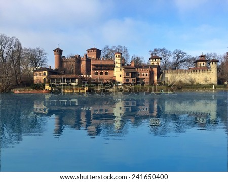 Medieval village in Valentino's park in Turin, Piedmont. Italy - stock photo