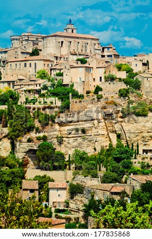 Medieval village of Gorges in French Provence (toned and cross processed image) - stock photo