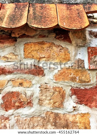 medieval wall with roof - stock photo