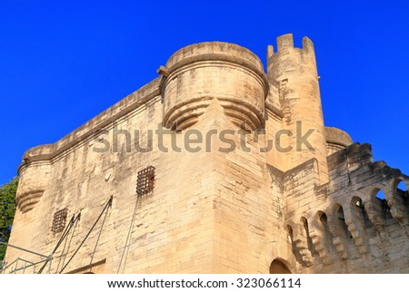 Medieval walls preserved around the old town of Avignon, Provence, France - stock photo