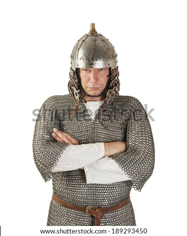 medieval warrior man wearing in ancient armor isolated on white - stock photo