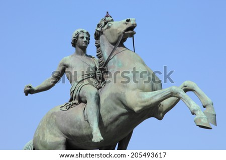 medieval warrior on horse statue guarding the Royal Palace of Turin, Italy