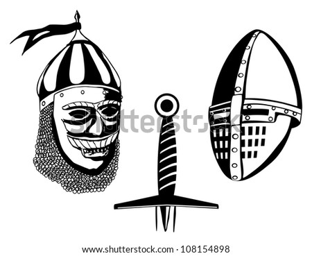 Medieval warriors helmets and sword, isolated on white - stock photo