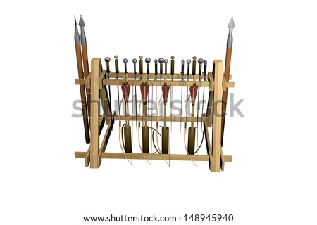 Medieval Weapon Rack - stock photo