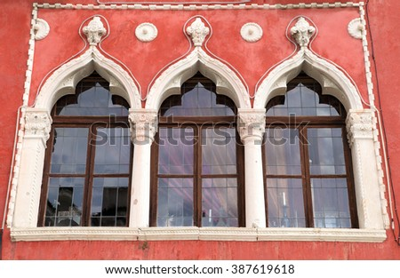 medieval window design of colourful house in Piran, Slovenia  - stock photo
