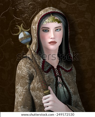 Medieval woman with cloak