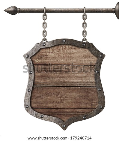medieval wood sign or shield hanging on chains isolated on white - stock photo