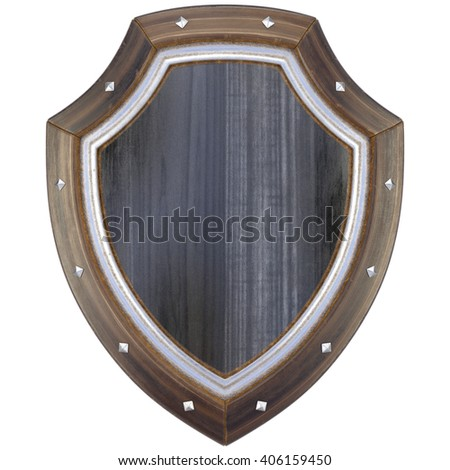 Medieval wooden shield. Isolated on white background. 3D illustration. - stock photo