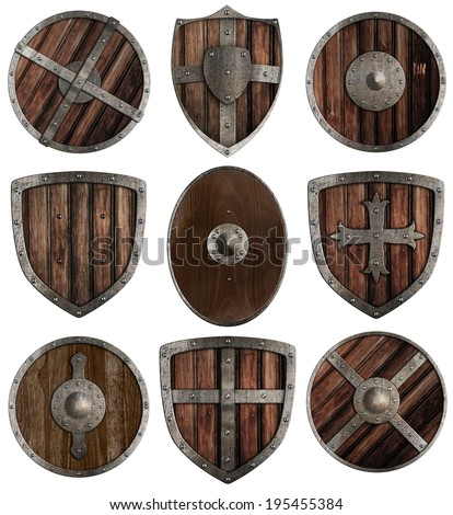 medieval wooden shields collection isolated on white - stock photo