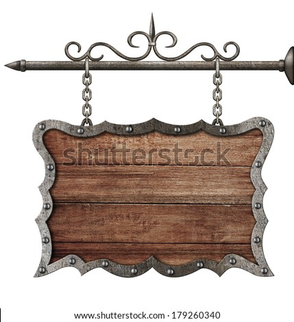 medieval wooden sign board hanging on chains isolated on white - stock photo