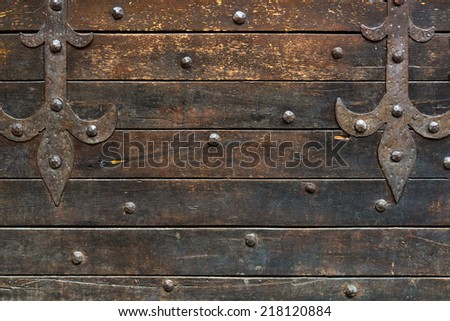 Medieval wooden wall of the house on the Ponte Vecchio in Florence, Italy. Background. - stock photo