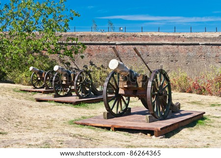 Medieval working artillery cannons on field. Apulum (Alba) citadel, Romania, Europe. - stock photo