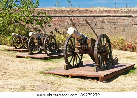 Medieval working artillery cannons on field. Apulum (Alba) citadel, Romania, Europe.