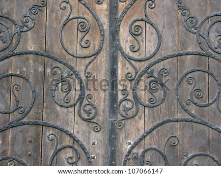 Medieval wrought iron and wood door