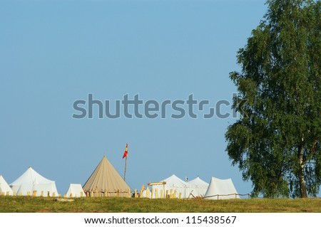 medievel camp - tent, blue sky