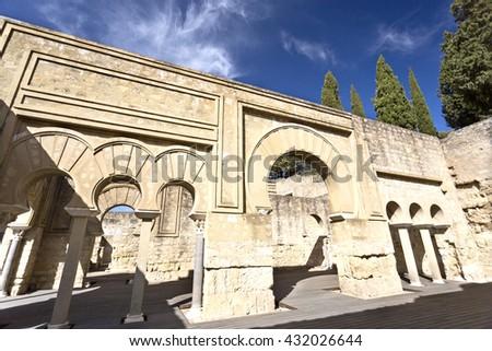 MEDINA AZAHARA, SPAIN - September  11, 2015: Detail of the Upper Basilica Hall at Medina Azahara medieval palace-city near Cordoba, on September  11, 2015 in Medina Azahara, Spain - stock photo
