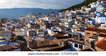 Medina of Chefchaouen city in Morocco, North Africa - stock photo