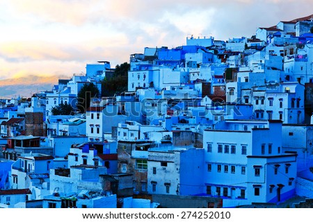 Medina of Chefchaouen, Morocco. Chefchaouen or Chaouen is a city in northwest Morocco. It is the chief town of the province of the same name, and is noted for its buildings in shades of blue - stock photo