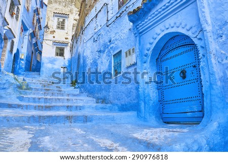 Medina of Chefchaouen, Morocco. Chefchaouen or Chaouen is known that the houses in this city are painted in blue.                                   - stock photo