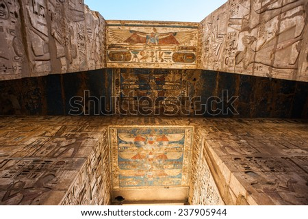 Medinet Habu (Mortuary Temple of Ramesses III), West Bank of Luxor in Egypt. - stock photo