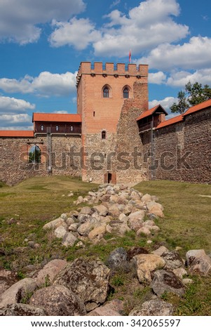 Medininkai, Lithuania - August 22, 2015: Medininkai Castle, a medieval castle on August 22, 2015 in Vilnius district, Lithuania. It was built in the late 13th century and is the largest in Lithuania.