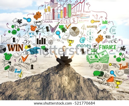 Meditating businessman on mountain top with colorful business sketch. Leadership concept
