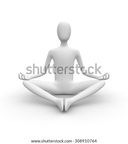 Meditating 3D white man, isolated white background, 3d image - stock photo