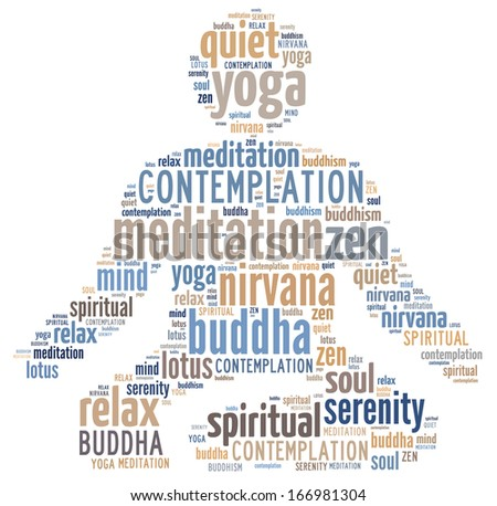 Meditating person silhouette with the mix of words from the yoga field. - stock photo