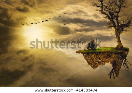 meditation alone with a (illustration of a fictional situation, in the form collage of photos) - stock photo