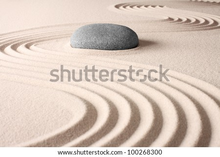 meditation concentration and spa relaxation zen buddhism spiritual japanese rock garden abstract harmony and balance concept for purity sand and stone - stock photo
