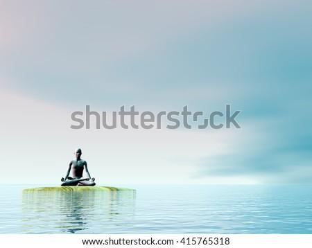 Meditation - 3D render - stock photo