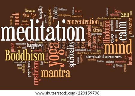 Meditation issues and concepts word cloud illustration. Word collage concept. - stock photo